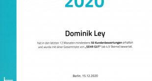 Proven Expert Top Dienstleister 2020 Dominik Ley Neuerkirch