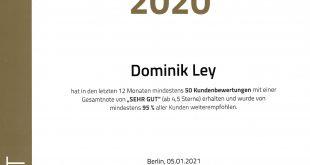 ProvenExpert Top-Empfehlung 2020 Dominik Ley